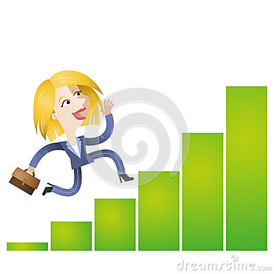 Successful cartoon business woman running growing bar chart