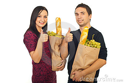 Successful couple at shopping food