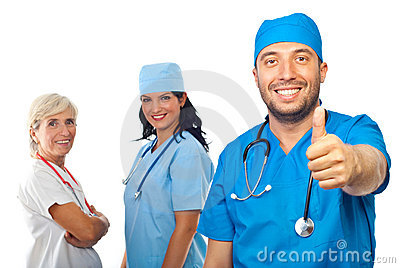 Successful doctor team give thumbs