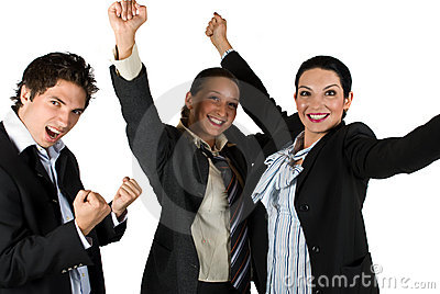 Successful excited people with victory in business