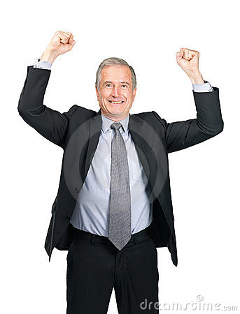 Successful - Excited senior business man on white