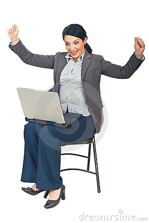 Successful executive woman with laptop