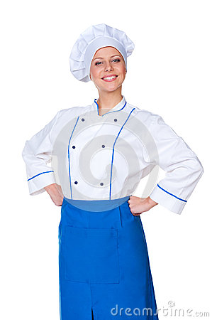 Successful female cook over white background