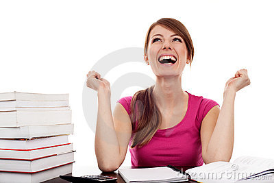 Successful female student with raised arms