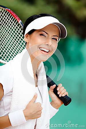 Successful female tennis player