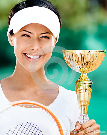 Successful female tennis player won competition