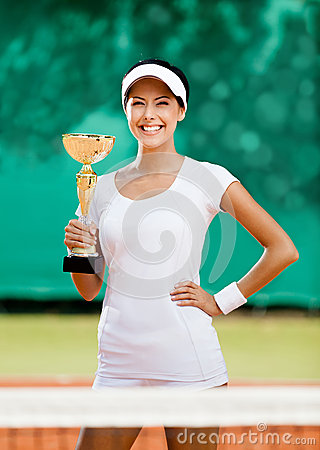 Successful female tennis player won the match
