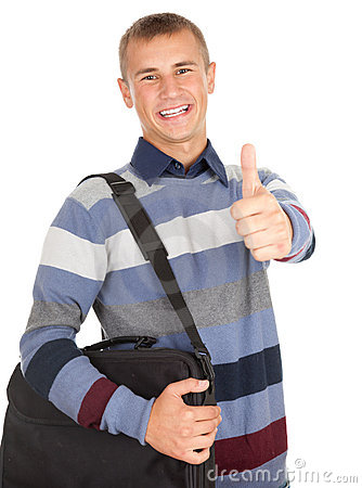 Successful male student with thumb up