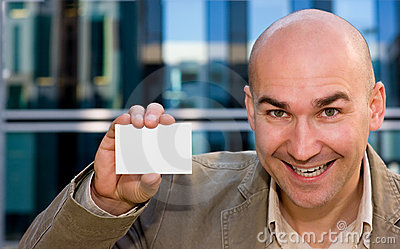 Successful man with business card