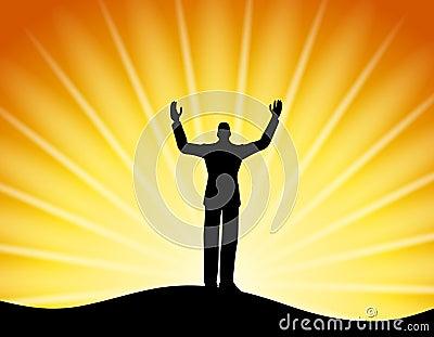 Successful Man Standing Sun Rays