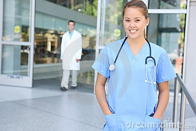 Successful Medical Woman Nurse at Hospital