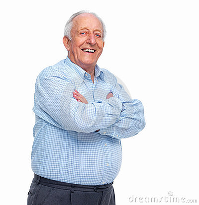 Successful old man standing on white