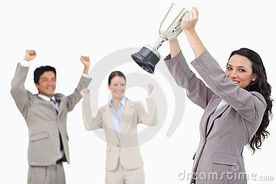 Successful saleswoman with cup