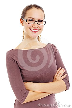 Successful smiling business woman in glasses