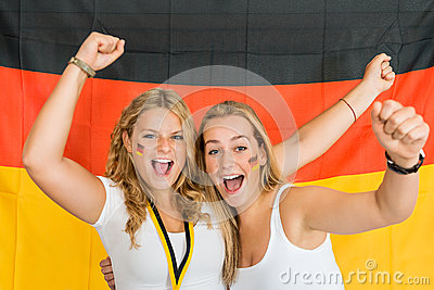 Successful Sportswomen Shouting Against German Flag