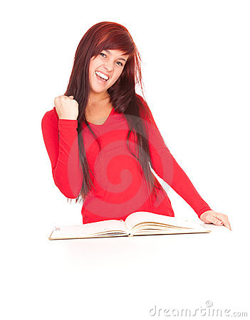 Successful student girl with notebook