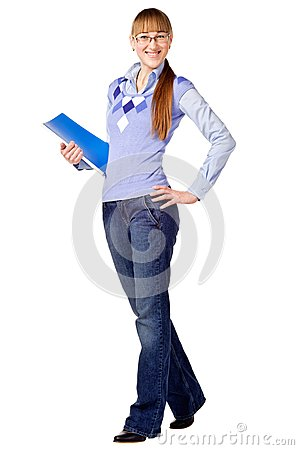 Successful student holding a folder and smili