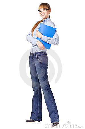 Successful student holding a folder and smiling