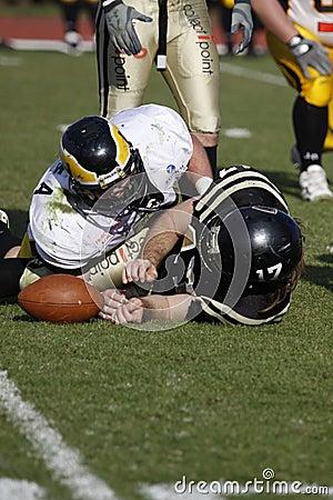 Successful tackle at american football Editorial Stock Image