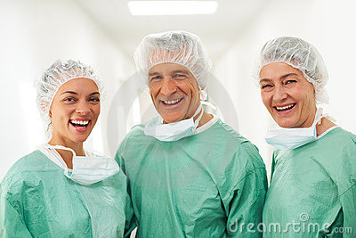 Successful team of medical workers together