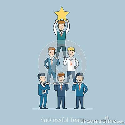 Free Successful Team Men Pyramid Flat Line Art Business Stock Photography - 73371712