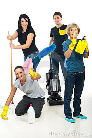 Successful teamwork of cleaning workers