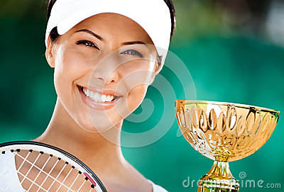 Successful tennis player won the cup