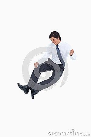 Successful tradesman clicking his heels