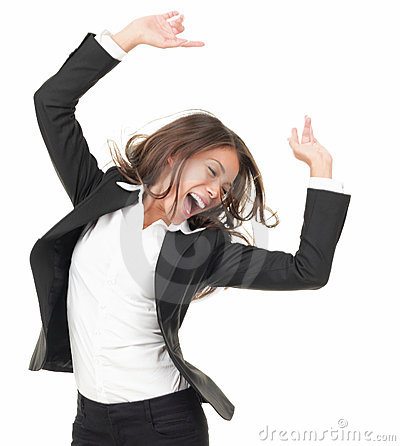 Successful winner dancing of joy