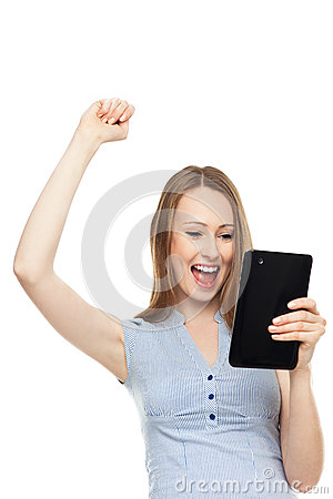 Successful woman with digital tablet
