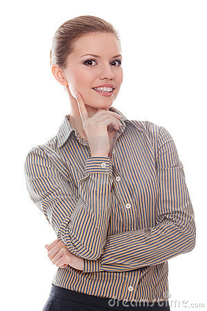 Successful woman with finger on her cheek