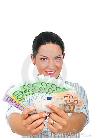 Successful woman giving money