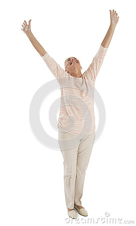 Successful Woman With Hands Raised Over White Background