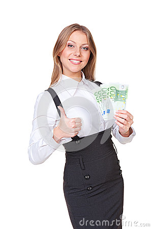 Successful woman holding the paper money