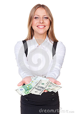 Successful woman holding paper money