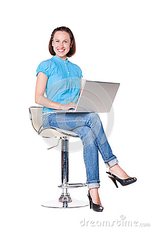 Successful woman with the laptop