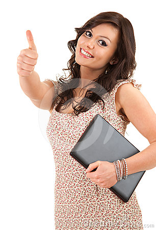 Successful woman with laptop and thumb up
