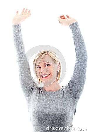 Successful woman raising arms in exultation