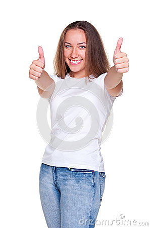 Successful woman in white t-shirt