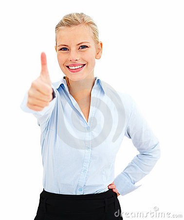 Successful young business lady showing thumbs up
