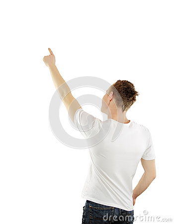 Successful young business man pointing at something interesting