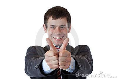 Successful young businessman holds both thumbs up