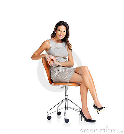 Successful young businesswoman on chair over white