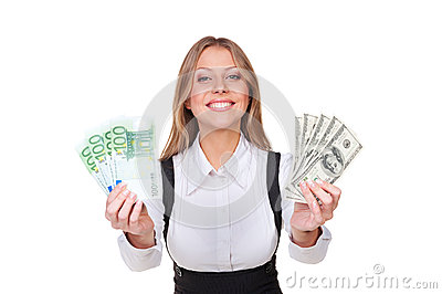 Successful young businesswoman holding money