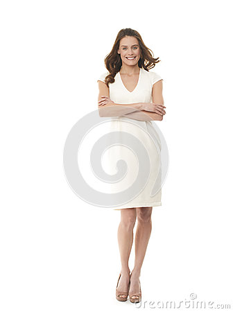 Successful young businesswoman on white