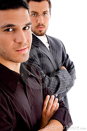 Successful young executives posing