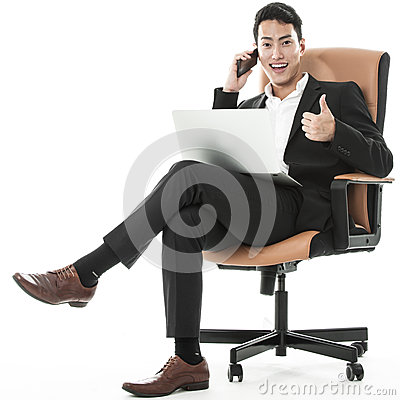 The sucessful businessman multitasking