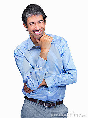 Sucessful mature man smiling - Isolated on white