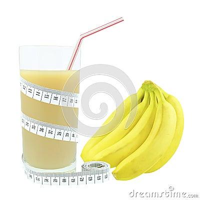 Suco e medidor da banana