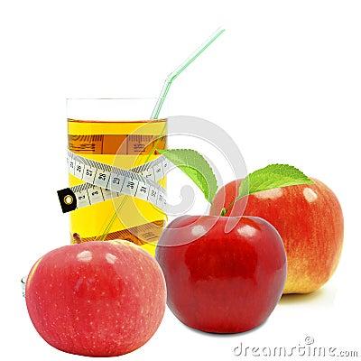 Suco e medidor de maçã